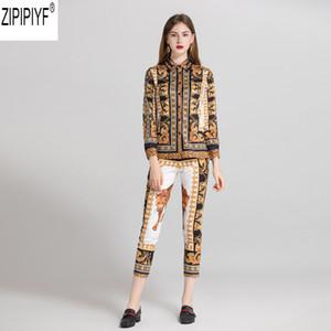 Traje de la pista de moda conjunto 2018 nuevas mujeres de manga larga Turn Down Collar Vintage impreso blusa + pantalones de la pantorrilla Set traje C1714
