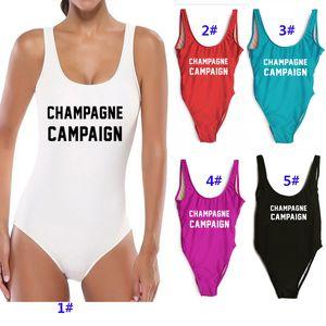 Maillot de bain une pièce pour femmes CAMPAGNE DE CHAMPAGNE Body Maillots de bain Sexy High Cut Baignades Plage Combinaisons Costumes Combinaison Femme Bikini WX9-625