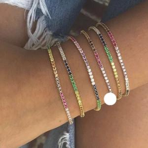 arc-en-bracelet de tennis cz pour les femmes 2018 nouvelle pierre multi couleur aux couleurs lumineuses bijoux à la mode de la mode de conception de bijoux de mode de la mode