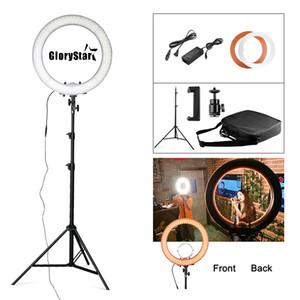 Glotar RL-18 55W 5500K 240 suporte LED fotográfica iluminação regulável câmera Photo / Studio / Telefone Fotografia Anel de Luz LampTripod
