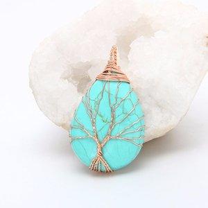 Doğal mor Kuvars Opal Taş Kolye El Yapımı Gül Altın Renk Hayat Ağacı Sarılmış Bırak Şekilli kristal kolye kolye