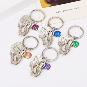 2018 New Fashion Mermaid Key Rings Fish Scale Charms Keychain Car Keyring Jewelry For women Men Gift