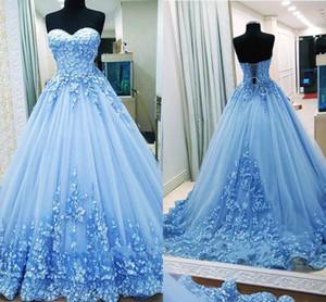 새 공 가운 이브닝 드레스 아가 연고 Tulle 백 레스 붕대 라이트 블루 댄스 파티 가운 Quinceanera Dresses 스위트 16 드레스