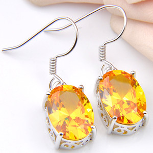 For Oval Luckyshine USA Jewelry Drop Earrings Citrine Holiday 925 Gift Silver Yellow Russia Plated Australia Women Sterling Gold Earrin Gudl