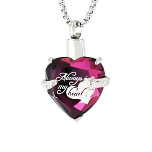 Cremation Jewelry Urn Colgante Memorial Collar para Ashes Crystal Heart Heart Hearmation Memorial Sweekake para niños Mujeres, Púrpura