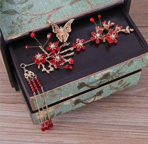 Vino simple de estilo chino Gorros nupciales rojos, traje antiguo, vestido Xiu, step shake.