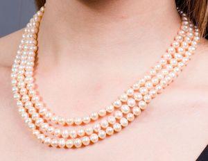 NEUE FEINE PERLE SCHMUCK Pfirsich Triple Strang Layer Süßwasser Perlenkette 7-8mm