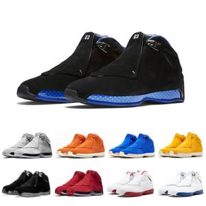 air jordan retro Vendita a buon mercato 18 Nero Sport Royal Men scarpe da basket Toro blu giallo arancio Camoscio cool grigio varsity rosso Sport trainer Sneaker us 8-13