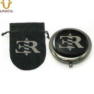 100 adet / grup Özel Sizin Logonuz Siyah Renk Cep Kozmetik Kompakt Ayna Özelleştirilmiş Kadife Çanta Kız Çanta Ayna Çanta Ayna 70mm