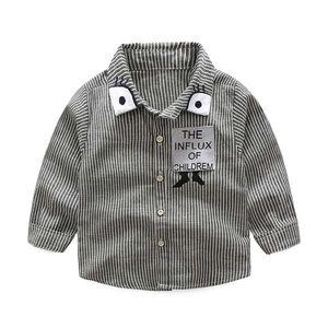 WEIXINBUY Camisas para bebés niños Abrigo de manga larga Cuello doblado Camisas para bebés Tiras Camisas para gatos Blusas para niños