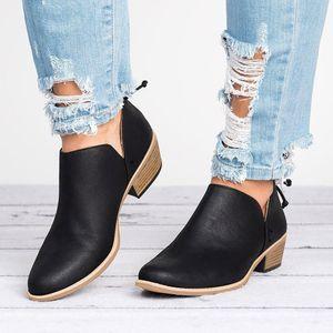 المرأة الصنادل ذات الكعب النساء أحذية السيدات الخريف أزياء الكاحل الصلبة جلد مارتن الأحذية أحذية قصيرة