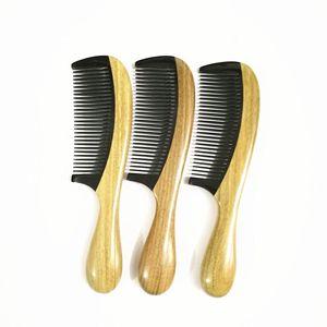 الجديدة اليدوية الطبيعية الثور القرن الأخضر خشب الصندل مشط السيدات مقبض خشبي كومز مكافحة ساكنة تدليك الشعر مشط
