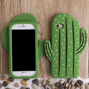 Único para el caso del iPhone 7 / iPhone8, cubierta suave creativa linda de la caja del teléfono del silicón de la sensación 3D para Apple iPhone 7/8 -Cactus
