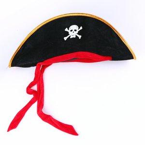 Suprimentos de Halloween Masquerade Desempenho Adereços Bola Pirata Chapéu Red Ribbon Pirate Cap Capitão Hat