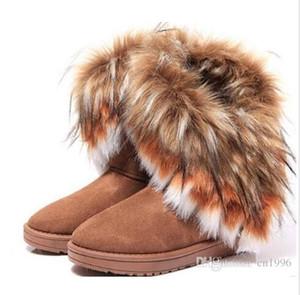 Directo de fábrica Moda Fox Fur Warm Otoño Invierno Cuñas Nieve Mujeres Botas Zapatos GenuineI Mitation Señora Botas Cortas Casual Nieve Larga Zapatos si