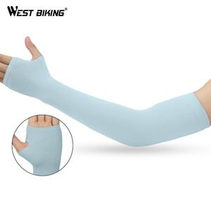 WEST BIKING Mangas Braço Tecido de Gelo Respirável Secagem Rápida Correndo Sportswear Sol Proteção UV Longa Capa de Braço Ciclismo Mangas