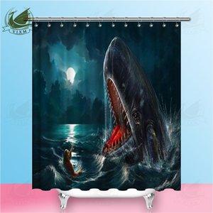 Vixm Иона И Кит Дайвер Рядом С Китовой Акулы Душ Шторы Полиэстер Ткань Шторы Для Домашнего Декора