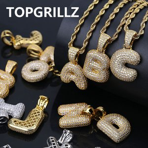 TOPGRILLZ A-Z personalizzato Bubble Lettere pendente per gli uomini n Donne Micro Pavimenta Zircone Cubico Collana Hip Hop fai da te con catena di corda