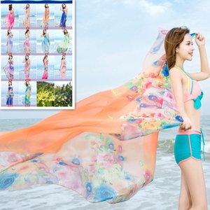 Moda Feminina Chiffon Macio e Macio Cachecóis Envoltório Longo Senhoras Impresso Protetor Solar Praia Toalha Xale Cachecol Femme