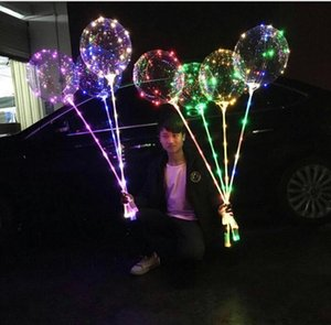 DHL 20 Inch Luminous LED Balloon Transparent Colored Flashing Lighting Balloons with 80cm Pole Wedding Party Decorations Holiday nx
