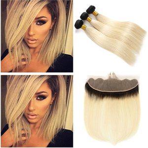 Two Tone 1B 613 Ombre Brazilian Straight Virgin Hair Bundles With Lace Frontal Dark Roots Blonde Human Hair Weaves With Lace Closure