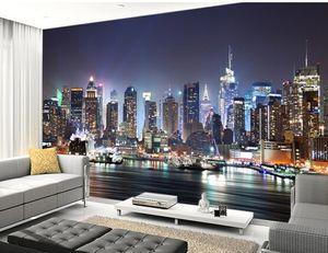 Özel fotoğraf kağıdı, New York, Night.Modern de Manhattan Skyline 3D duvar resimleri için oturma odası yatak odası mutfak duvar PVC duvar kağıdı.