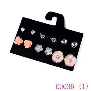 3 set bijoux élégants boucles d'oreilles stud ensemble noir orange jaune résine boucles d'oreilles fleur coeur cristal stud stud femmes E0036