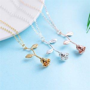1 Stück Delicate Rose Blume Anhänger Halskette Charme Gold Silber Schönheit Rose Schmuck Halskette Für Frauen Mädchen