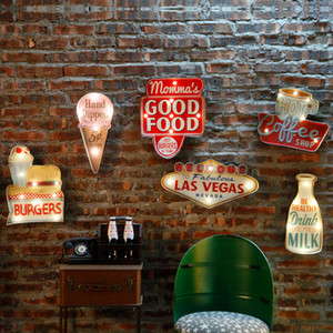 빈티지 라스베가스 LED 빛 네온 표지판 바 펍 홈 레스토랑 카페 조명 로그인 벽 매달려 장식 LED 징후 N052