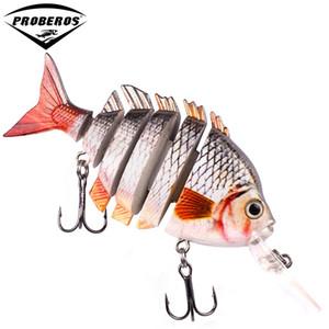 1 adet Yeni tasarım 6 Bölümler Balıkçılık cazibesi 10 cm-13.67g Yüzmek Yem 2/0 Kanca olta takımı 6 renk Balıkçılık yem HS012