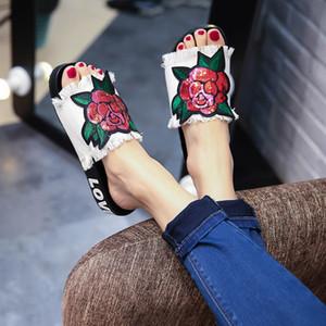 Yu Kube 2018 Frauen-Denim-Tuch-Rosen-Blumen-Flip-Flops Sandalen Sommer Schuhe Strandschuhe rutschfeste Schuhe