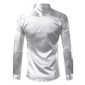 폴리 에스테르 실크 셔츠 남성 새틴 부드러운 남성 솔리드 턱시도 셔츠 비즈니스 슈 옴므 캐주얼 슬림핏 반짝이 골드 웨딩 드레스 셔츠
