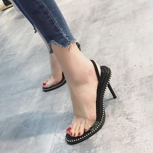 أحذية النساء مضخات عالية الكعب الخناجر السيدات أحذية شفافة منصة slingback في المسامير أحذية الزفاف النساء الصنادل 39 ثانية مثير