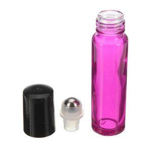 New 10ml Roll On Glass Rosa Leer Düfte Ätherische Duftstoffflasche Ätherische Öle Glasflasche Metallrolle Rollerball