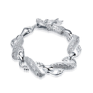 Большой Белый Дракон браслет-мужской стерлингового серебра позолоченный браслет; свадебный подарок ! мужчины и женщины 925 серебряный браслет SPB036