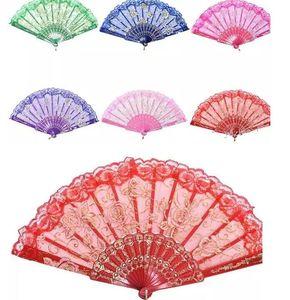 Fan de seda de la mano del cordón del marco plástico rosado floral del diseño floral del estilo español, fan plegable del arte chino