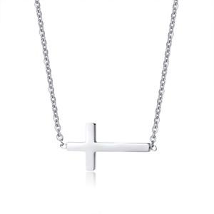 Collana pendente pendente trasversale orizzontale in acciaio inossidabile Petite da donna