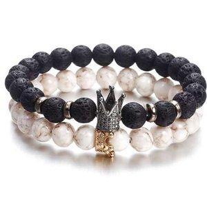 Hot Trendy Lava Stone Pavimenta CZ Imperial Crown e Helmet Charm Bracelet For Men or Women Bracciale gioielli WHITE NOT STONE NS63