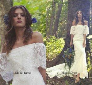 Abiti da sposa in pizzo bianco Country Style Off the Shoulder Mezza manica 2018 Spring Summer Beach Abiti da sposa vestido de novia
