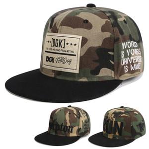 Camo Snapback Hat Аппликация Вышивка DGK Хип-хоп Unisex Хлопок Шляпы Регулируемые Snapbacks Cap Смешанные Caps Street Rock Популярные Мужчины Женщины