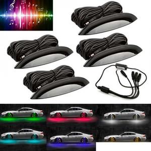 4 قطع العالمي متعدد الألوان سيارة الحاجز عجلة الحاجب أدى ضوء الاطارات rgb التحكم عن ديكور أضواء توقيت وظيفة وضع الموسيقى للسيارات شاحنة