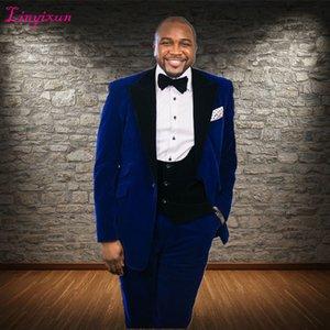 Linyixun Long Blazer Style Royal Blue Velvet Men Suit Handsome Wedding Tuxedo For Best Man Groom Terno Masculino 2018
