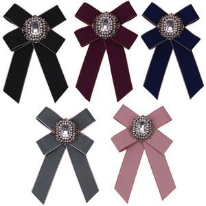 Camisa de vestir de la manera del arco broches del Pin para las mujeres hechas a mano del lazo Ramillete Broche lienzo Tela de cristal collar del Bowknot broche de joyería