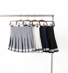 Yaz kadın giyim Yüksek bel pilili etek Tenis etek Beyaz Siyah Mavi Sarı Siyah moda gençlik
