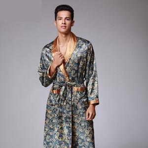 Teste padrão dos homens Paisley Roupão Kimono Robes V-neck Faux Silk masculino Pijamas Roupa de Noite Masculino cetim Bath Robe