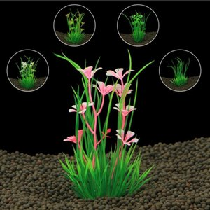 20pcs / lot Nouveau design plantes d'aquarium artificiels en plastique Mauvaises herbes herbe pour fond d'aquarium de poissons décoration aquarium ornement