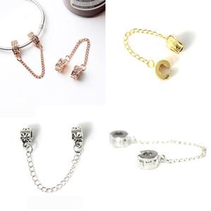 Livraison gratuite MOQ 20pcs Européen Argent 925 Double pince Chaîne de Sécurité Perle Charmes Fit Pandora BraceletsBangles Original Jewelry Making N123