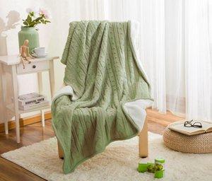 Hotel 100% Baumwolle Hohe Qualität Schafe Samtdecken Winter Wärme Gestrickte Wolldecke Sofa / Bettdecke Quilt Gestrickte Decke
