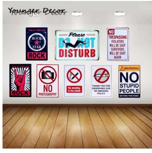 Warning No Stupid People Metal Signboard No Photography Smoking In The Toilets Wall Art Painting Plate Rock Star Tin Sign YA105