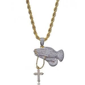 Rame placcato oro Gesù croce collana pendente a strati pavimentato micro zirconi pregando mano catene di fascino regalo di giorno di pasqua regalo di hiphop